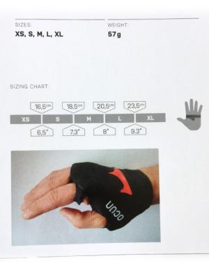 サイズチャート。手の甲の全周を計測下さい