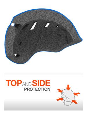 頭全体をカバーするデザインにより、前部、側部、後部からの衝撃に対する保護性能を強化