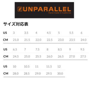 サイズチャート(実寸を目安にハーフorワンサイズアップが目安)例:実寸25.5cmならUS8.5